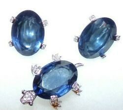 Important Signed Nettie Rosenstein Turtle Pin And Earrings With Large Blue Stones