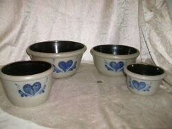 Rowe Pottery -vintage-1992 Heart Pattern -set Of 4 Mixing Bowls- New-exc.