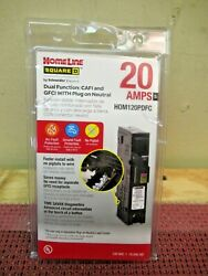New Square D Homeline Hom1120pdfc 20 Amp Dual Function Gfci/afci Plug On Neutral