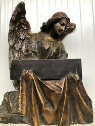 Exceptional French Gothic Angel Holding A Pc Of The Cross Carved In Wood Ca1880