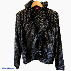 Save The Queen Made In Italy Open Knit Cardigan Black Size Xxlarge I5
