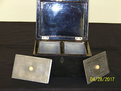 Rare Chinese Qing Dy Paktong Hand Carved Pewter Export Lacquer Tea Caddy Box