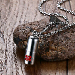 Pill Shape Container Alert Identification Pendant Necklace Chain 22s`f0