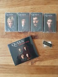 Queen Greatest Hits Signed Cd, Collectors Cassette Set And Badge Bundle Sold Out