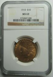 1910-p 10 Indian Head Gold Eagle Ngc Ms62 Sharp Looks Better
