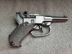 Kilgore G-man Cap Gun Pistol With Red Clip - Nickel Plated - Gorgeous - Works