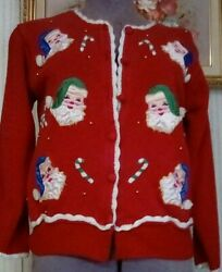 Christmas Sweater Red Santa Small Petite Made By Airport Older Piece
