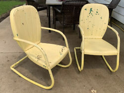 Lot Of 2 Vintage Arvin Metal Lawn Patio Furniture Rocking Chairs 1940s Or 1950s