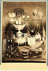 Authentic Antiques 1800s Silver Collection Clock Knife Cabinet Card Photograph