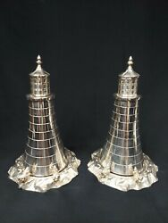 Huge Victorian Latham And Morton Silverplate Eddystone Lighthouse Service Wear 11