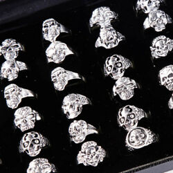 Wholesale 20pcs Lots Gothic Punk Skull Antique Silver Rings Mixed Style Jewelry