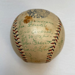 1930 Cleveland Indians Team Signed Baseball With Joe Sewell And Earl Averill