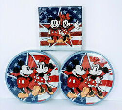 Disney Minnie And Mickey Mouse 20 Paper Plates 8-5/8in And 20 Napkins Birthday Party