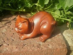 Hand Carved Wood Netsuke Cat Crouching Ready To Pounce Collectable Boxwood Figur