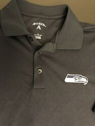 Antigua NFL Seattle Seahawks button polo Shirt Men Large Navy Embroidery New $22.99