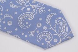 Belvest Neck Tie Nwt Light Blue With White Floral Paisley Silk Blend