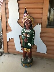 Hand Carved Wooden Native American Indian Statue Solid Wood 4ft 200+ Years Old