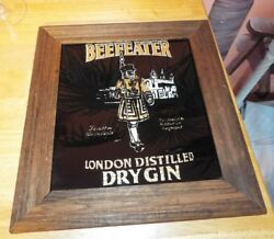 Vintage Beefeater Gin Mirror Wood Sign Framed Advertising. Gold Foil. Rare Find