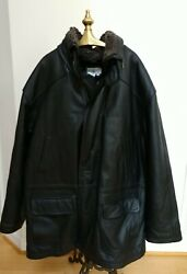 Ln Paradox Leather Field Coat Jacket Big 58 Tall Quilted Removable Fur Collar