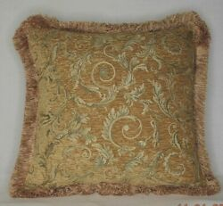 Gold Vine Floral Chenille Fringe Pillow For Sofa Chair Made Usa