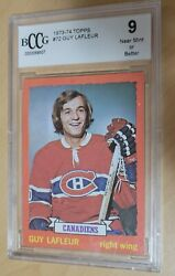 1973-74 Topps 72 Guy Lafleur Montreal Canadiens Graded Bccg 9
