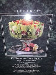 """Vintage Glass 13"""" Cake Plate With Heavy Dome Cover Pedestal Base Punch Bowl"""
