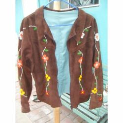 Vintage Native American Indian Cree Beaded Leather Suede Jacket