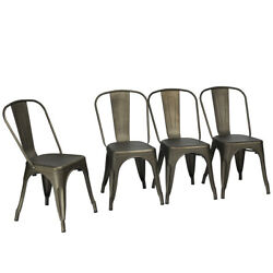 Set Of 4 Vintage Dining Chairs Stackable Side Cafe Metal Stool Tolix Style Gun