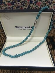 Shipton And Co Fine Jewellery Turquoise Bead + Hallmarked Silver Clasp