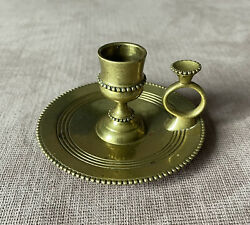 19th Century Antique Bronze Brass Beaded Edge Chamberstick Candle Holder Marked