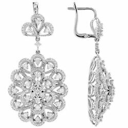 2.20ct Natural Round Diamond I,j,si1 Floral-shaped Drop Earring 14k White Gold