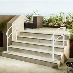 Iron Handrail 1-5 Steps Stair Railing Hand Post Rail Kit Fit Porch Deck Outdoor
