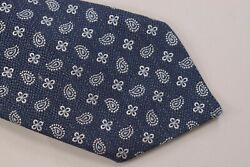 Eton Nwt Neck Tie In Dark Blue With White And Light Blue Paisley Silk / Linen