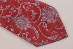 Robert Jensen Nwt 7 Fold Silk Neck Tie In Red With Light Blue Paisley Unlined