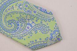 Etro Neck Tie Nwt Light Sage Green With Blue, White And Pink Paisley 100 Silk