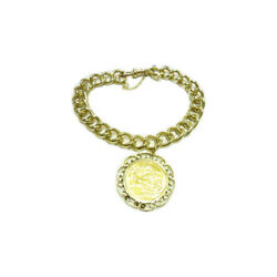 9ct Gold Solid Curb Bracelet With A Full 22ct Sovereign And039 1911and039 And 9ct Mount