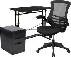 Flash Furniture Work From Mesh Office Chair Locking Mobile With Inset Handles