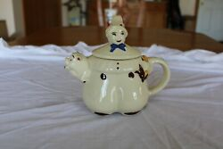 Shawnee Pottery Tom The Piper's Son Teapot With Boy Holding Corn And Pig Spout