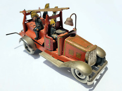 Antique Penny Toy George Fischer Tin Litho Wind-up Fire Truck