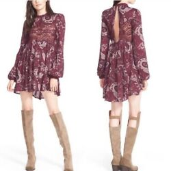 Free People Womenand039s Sweet Thang Printed Tunic Long Sleeves Purple Size Small