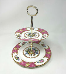 Royal Albert Lady Carlyle 2 Tier Pastry Tidbit Serving Tray With Handle