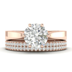 1.6ct E-si2 Diamond Cathedral Engagement Ring 18k Rose Gold Any Size