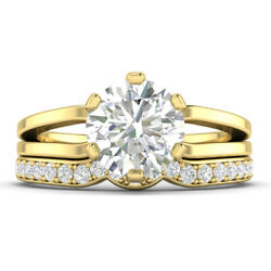 1.46ct F-si2 Diamond Round Engagement Ring 18k Yellow Gold Any Size