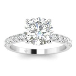 1.28ct H-vs2 Diamond French Pave Engagement Ring 18k White Gold Any Size