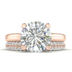 1.4ct H-vs2 Diamond Round Engagement Ring 14k Rose Gold Any Size