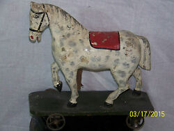 Antique American Pull Toy Horse Mid-c1800's Hand Carved Wooden