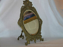 Bradley And Hubbard Antique C19th C Easel And Wall Hang Beveled Glass Ornate Mirror