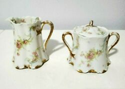 Haviland Limoges Rose Creamer And Sugar - Pink Roses/ Gold Dust Band And Accents
