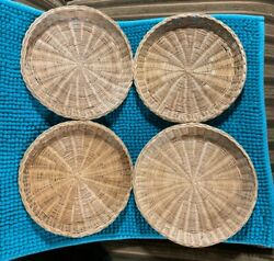 Collectors Vintage Wicker Rattan Paper Plate Holders Set Of Four Good Condition