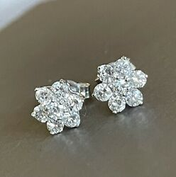18ct Solid White Gold Diamond Earrings 1ct Daisy Flower Cluster Studs 100 Points
